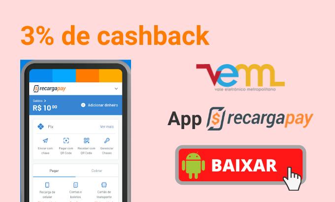 3% cashback com o RecargaPay