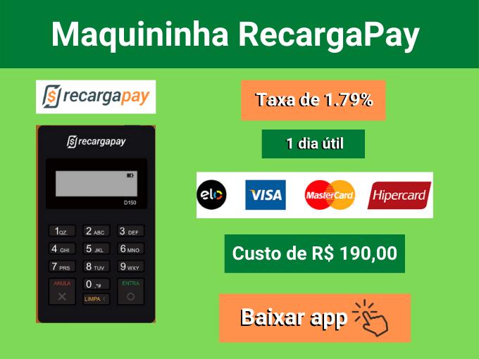 Maquininha RecargaPay com taxa de 1.79%